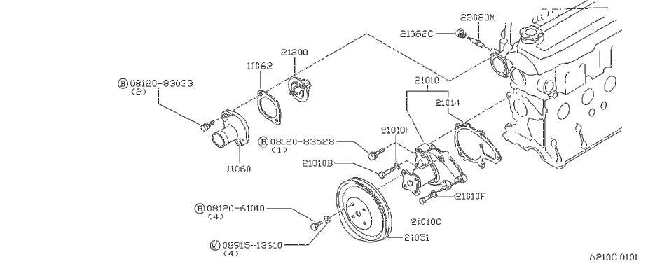 Nissan Stanza Engine Coolant Thermostat Gasket. WATER