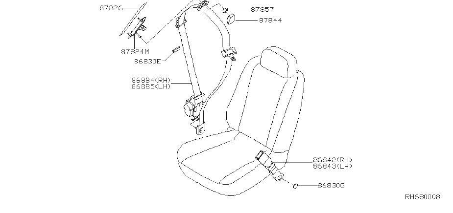 Nissan Quest Seat Belt Receptacle (Right, Front). Trim