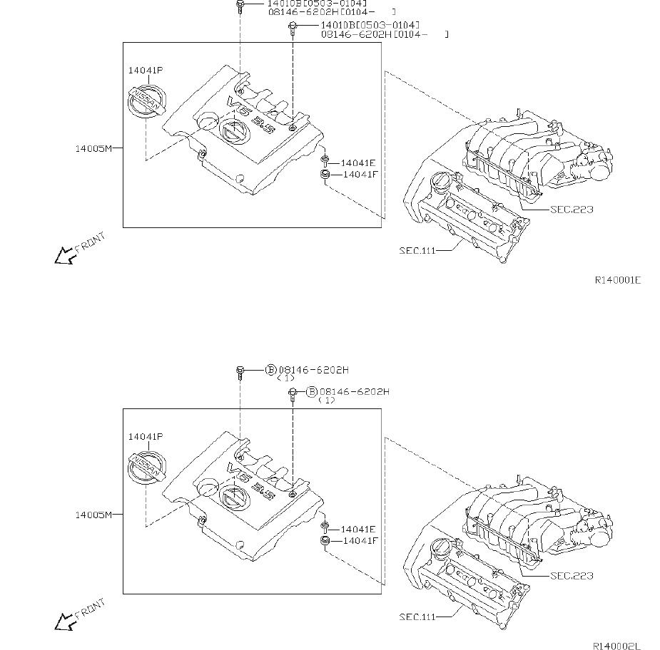 Nissan Quest Plug Blind, Egr. Plug Taper. INTAKE, EXHAUST