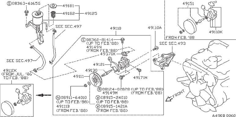 Nissan Pathfinder Nut Pulley, Power Steering Pump. SUSP