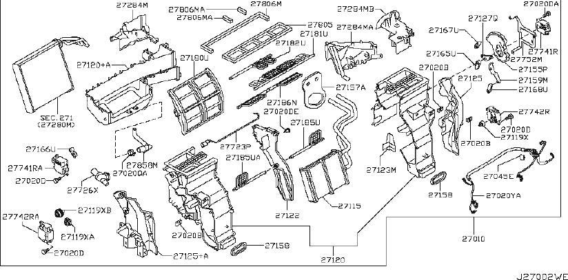 Nissan Armada Hvac heater core bracket (front). Unit