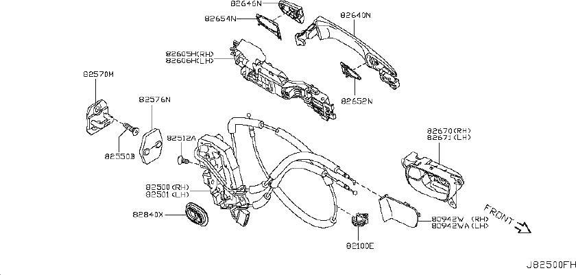 Nissan Armada Exterior Door Handle (Right). EDITION