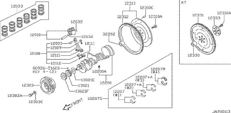 Nissan 300ZX Bearing Crankshaft. GRADE, ILLUSTRATION