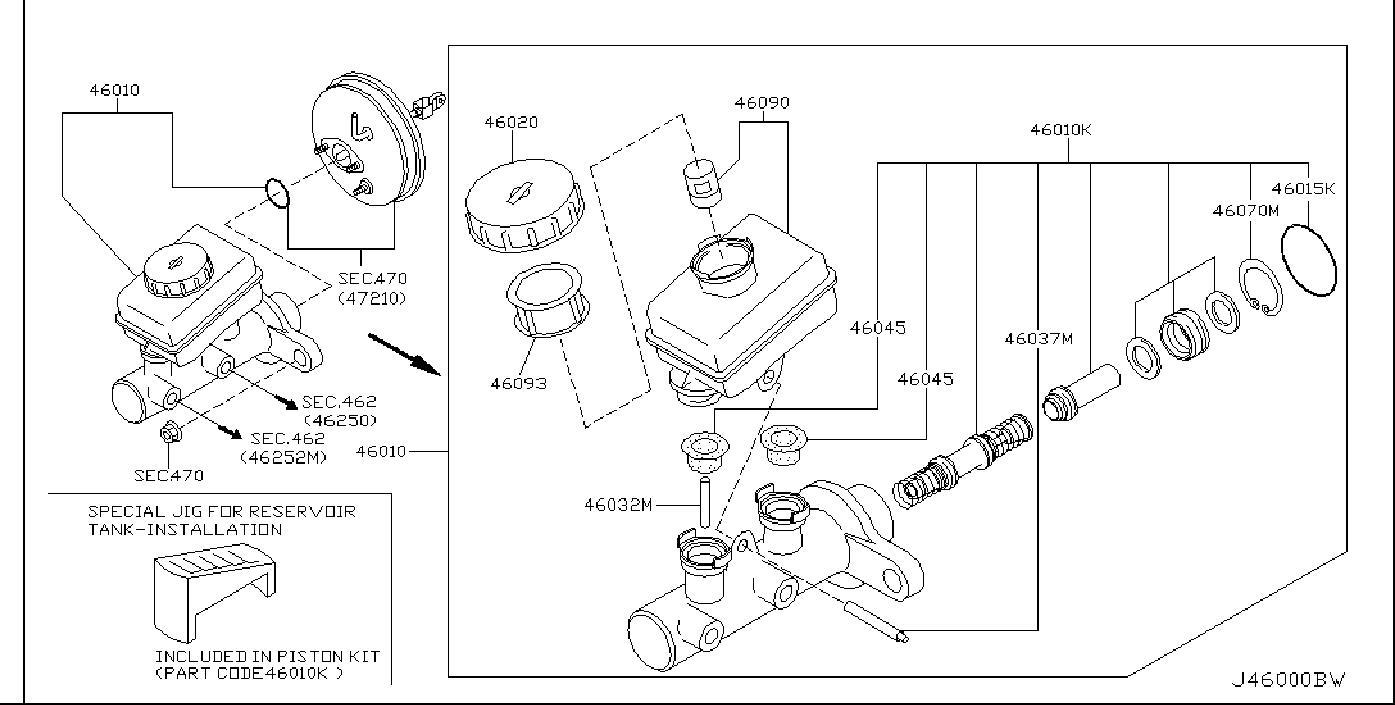 Nissan 350Z Brake Master Cylinder Repair Kit. TOURING
