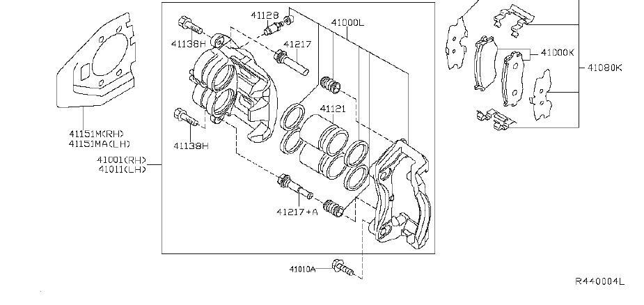 Nissan Murano Disc Brake Abutment Clip Set. Disc Brake Pad
