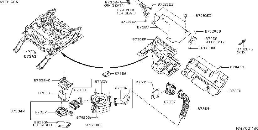 Nissan Murano Air Bag Wiring Harness. SEAT, PASSENGER