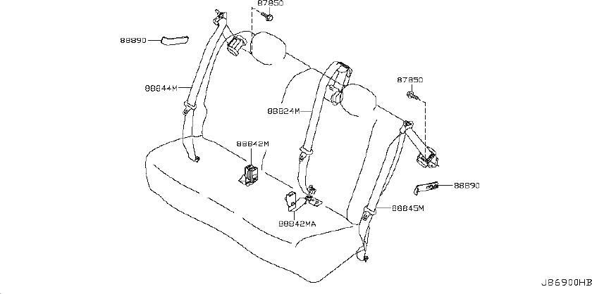Nissan Leaf Seat Belt Lap And Shoulder Belt (Rear). Trim