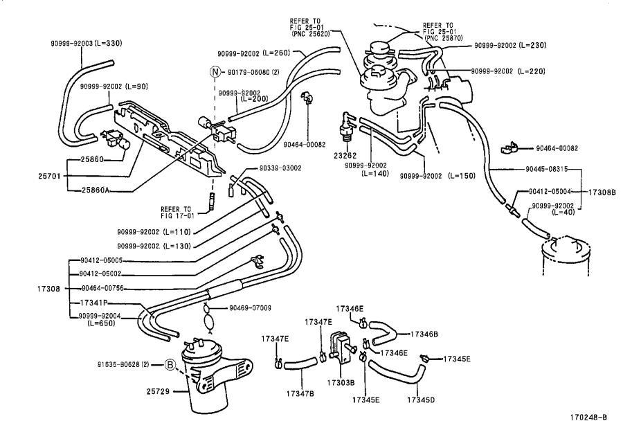 2003 Lexus ES 300 Hose sub-assembly, vacuum(for idle-up