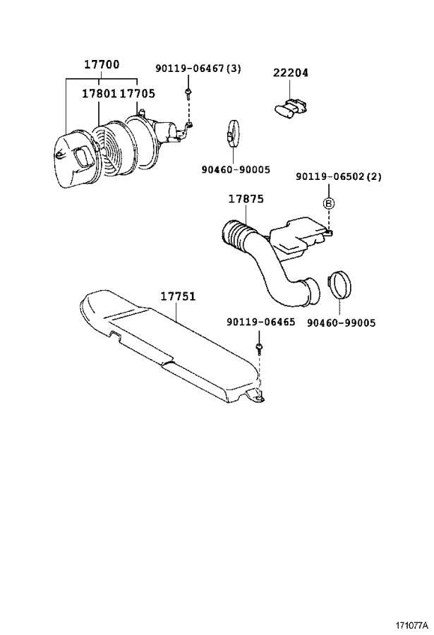 Lexus LS 400 Pipe, intake air connector. Engine, cleaner