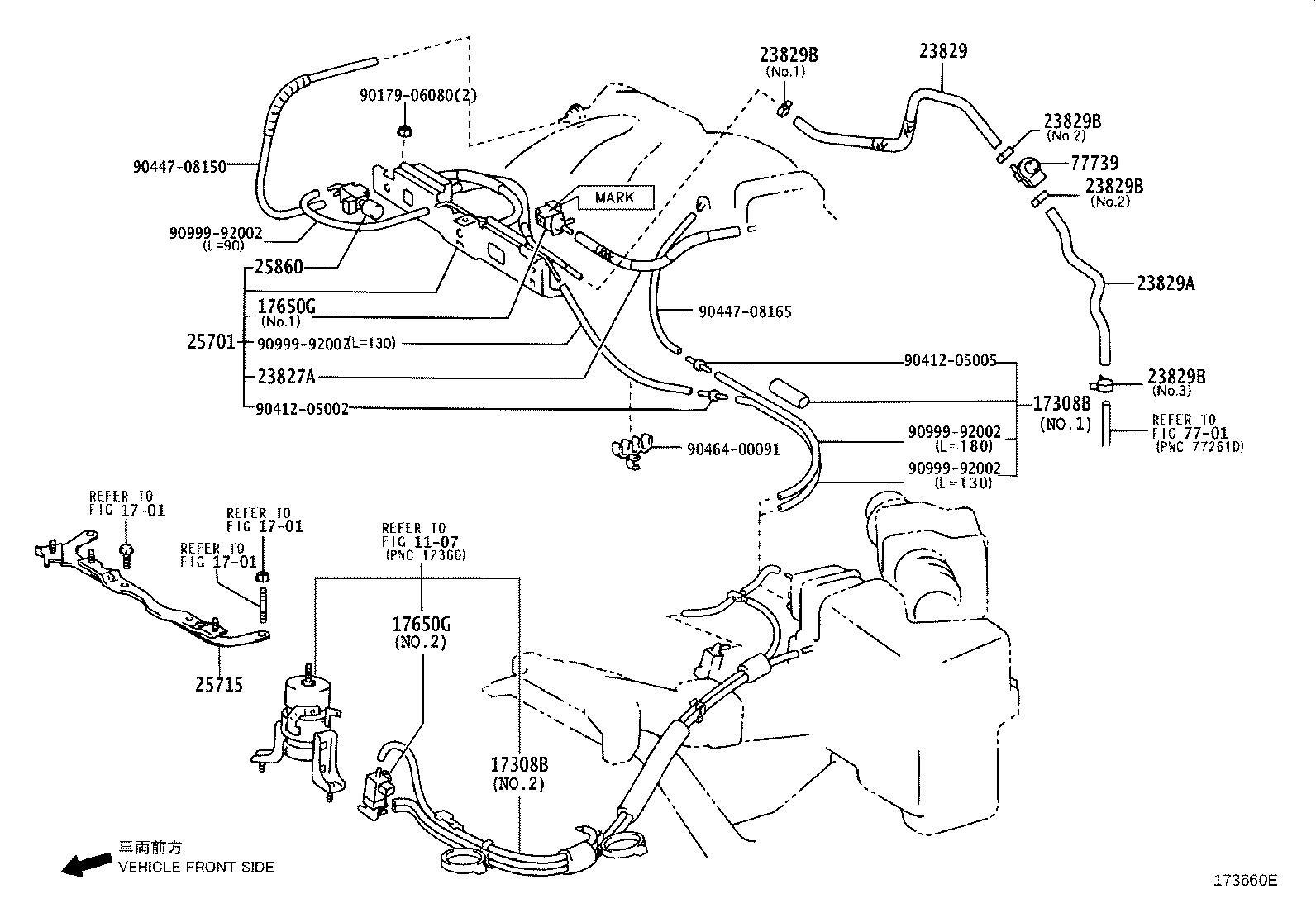 2007 Lexus RX 330 Hose, fuel vapor feed, no. 3. Engine
