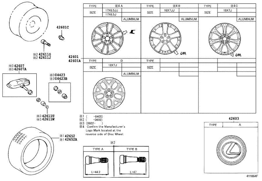 Lexus RX 330 Wheel, disc. Canada, disk, components