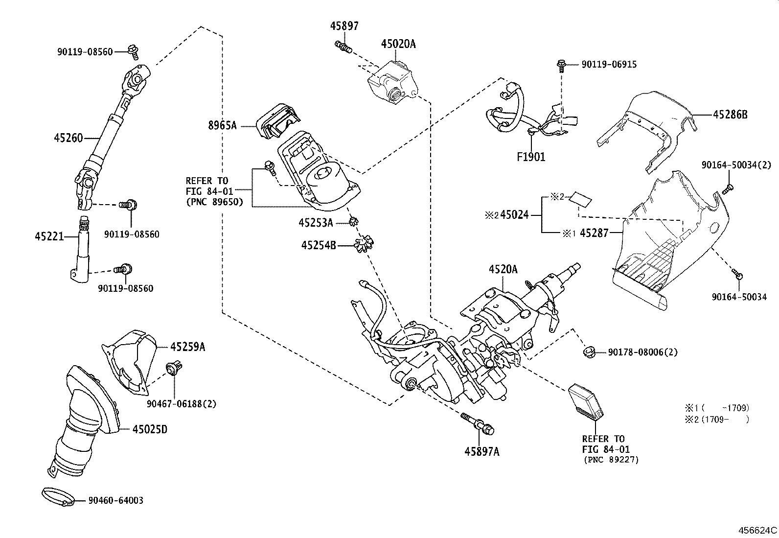 Lexus NX 200t Steering Column Wiring Harness. Wire