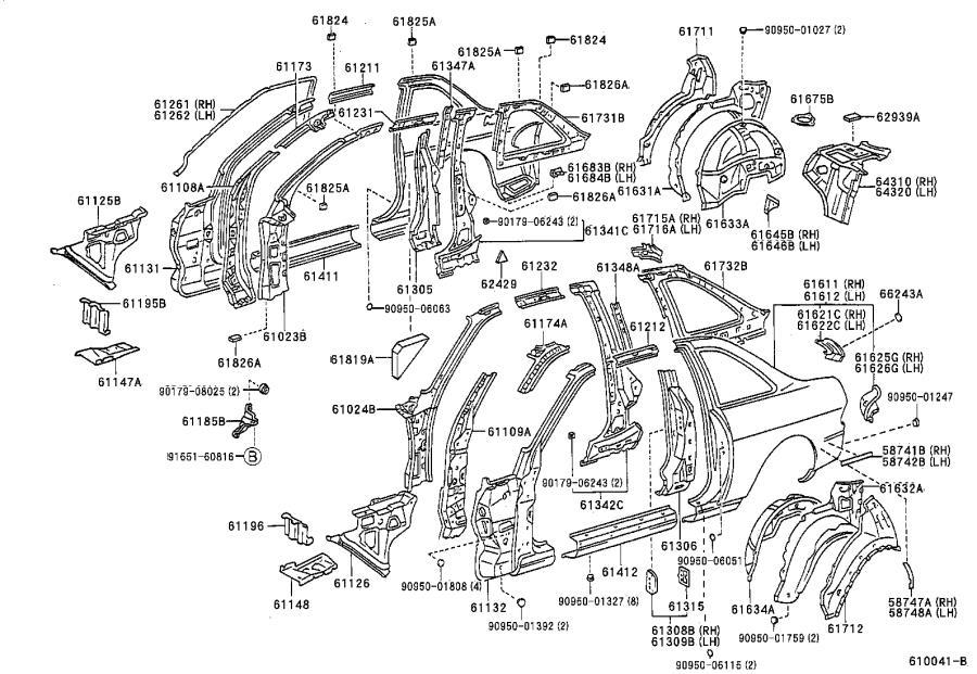 Lexus SC 300 Plate, noise control, no. 2. Body, interior