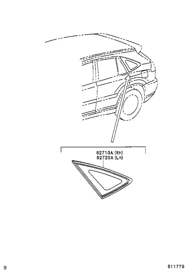 Lexus RX 330 Window assembly, quarter, right. Green, glass