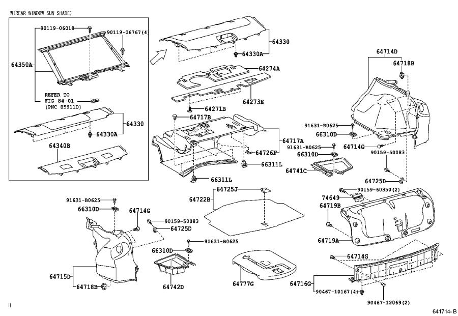 Lexus IS 250 Panel assembly, package tray trim. Orchid