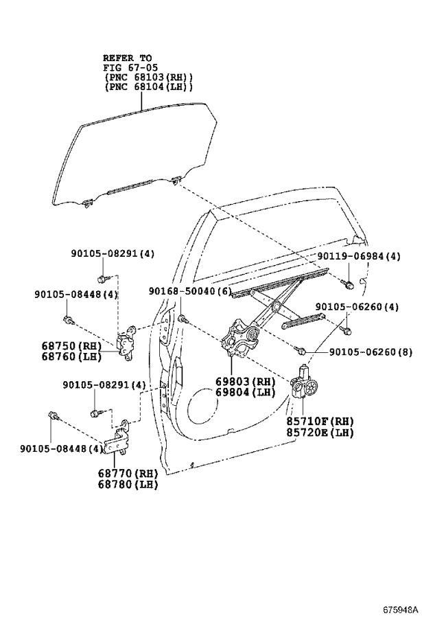 Lexus RX 350 Regulator sub-assembly, rear door window