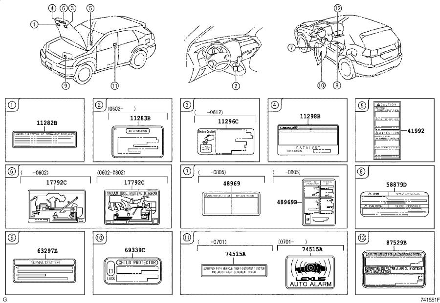 Lexus RX 350 Label, emission control information. Interior