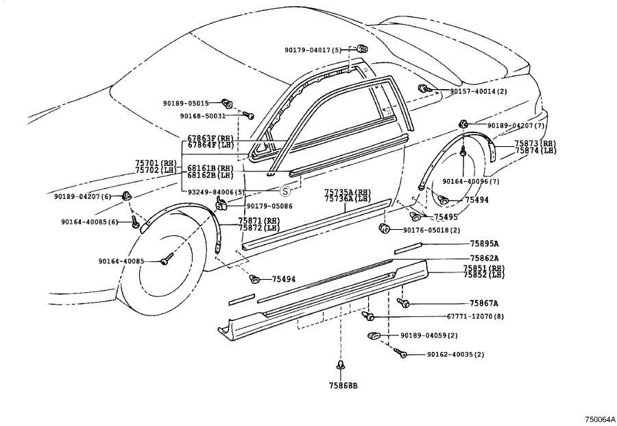 Lexus SC 400 Rocker Panel Molding Clip. Body, Interior