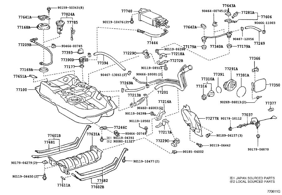 Lexus ES 300 Fuel Pump Housing. Bracket, Fuel Pump. Plate