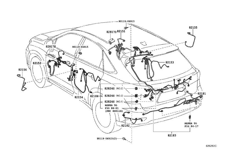 Lexus RX 450h Wire, back door, no. 1. Eaker, ner, ope