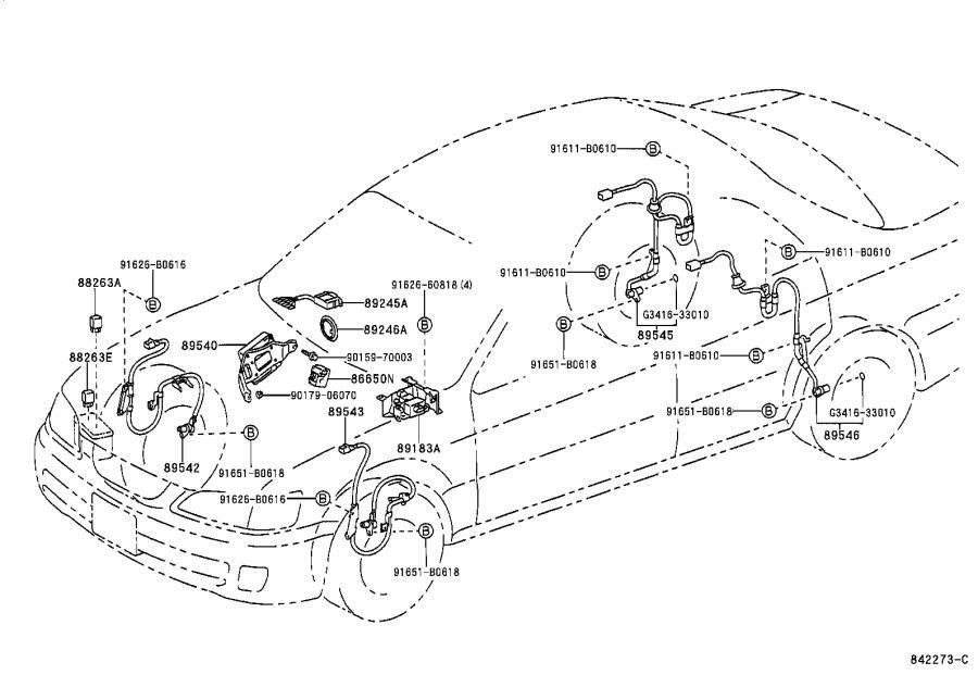 Lexus ES 300 Abs wheel speed sensor (left, front