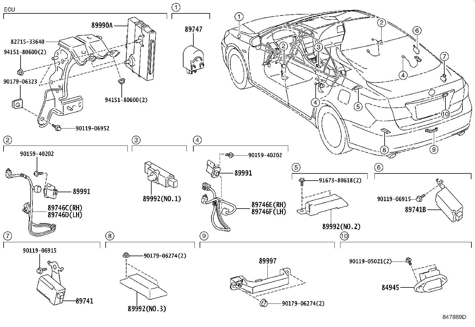Lexus ES 350 Harness, electrical key wire, no. 1. Wireless