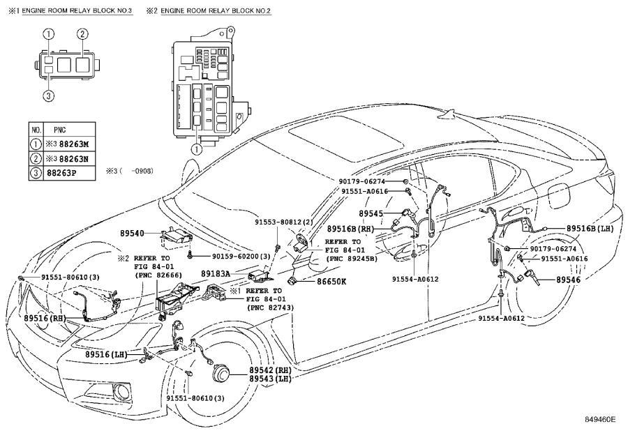 Lexus IS F Abs wheel speed sensor wiring harness