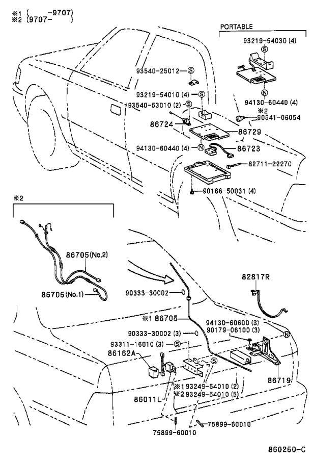 Lexus LS 400 Bracket, telephone. Mayday, electrical