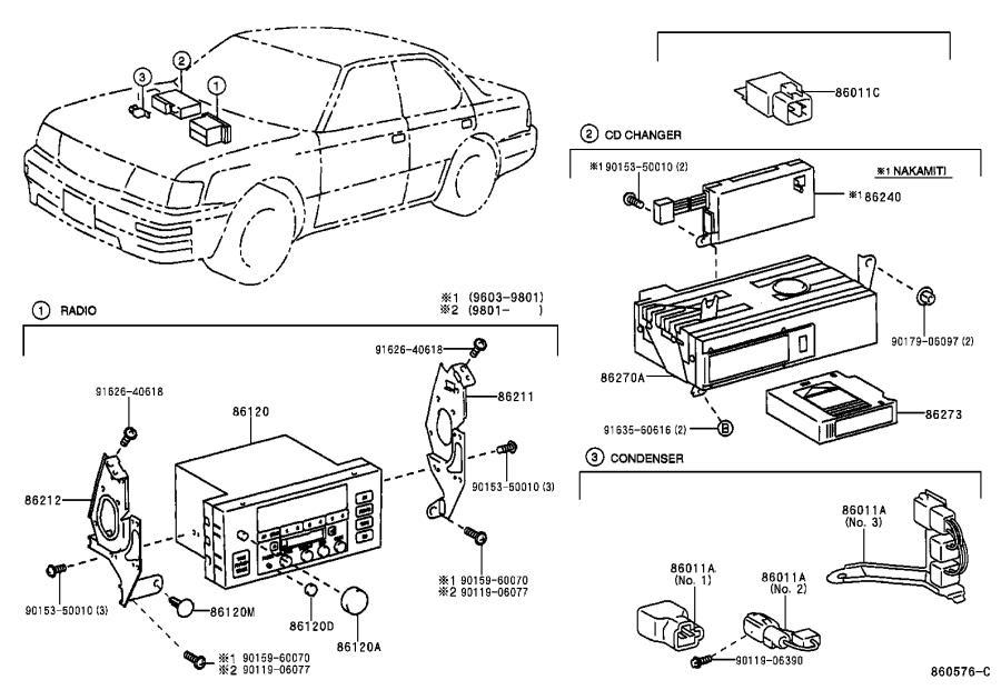 Lexus LS 400 Knob, radio receiver switch. Pioneer