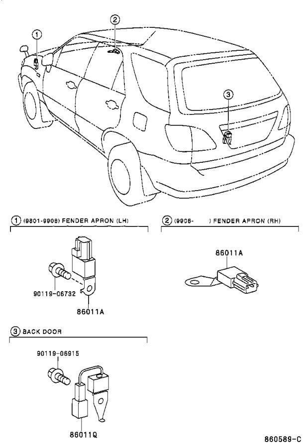 Lexus RX 300 Bracket, radio, no. 1. Condenser, receiver