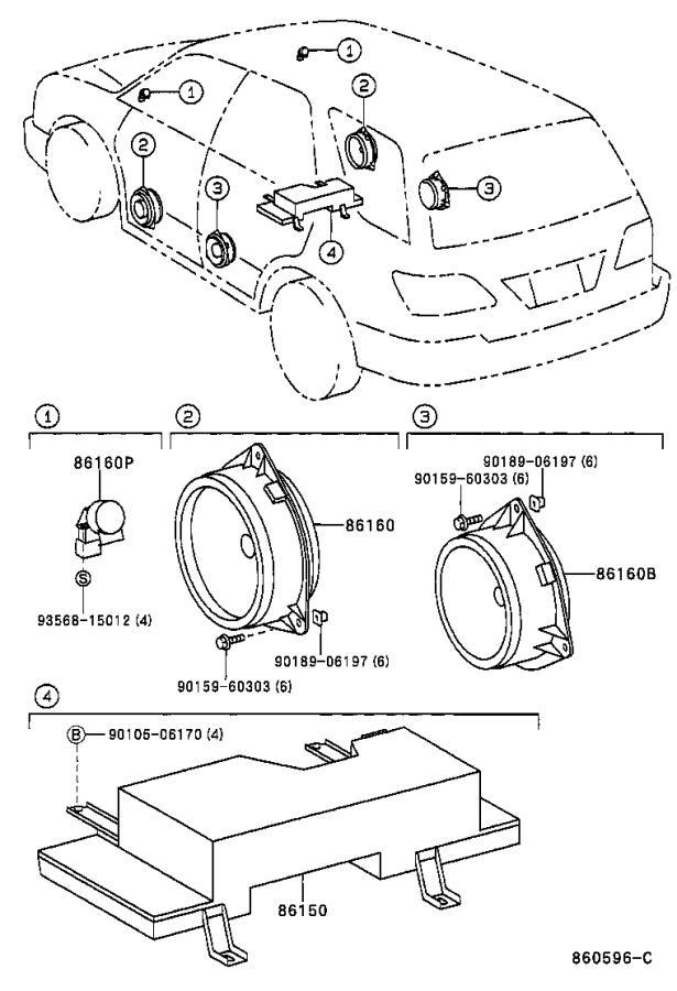 Lexus RX 300 Speaker assembly, rear. Pioneer, electrical