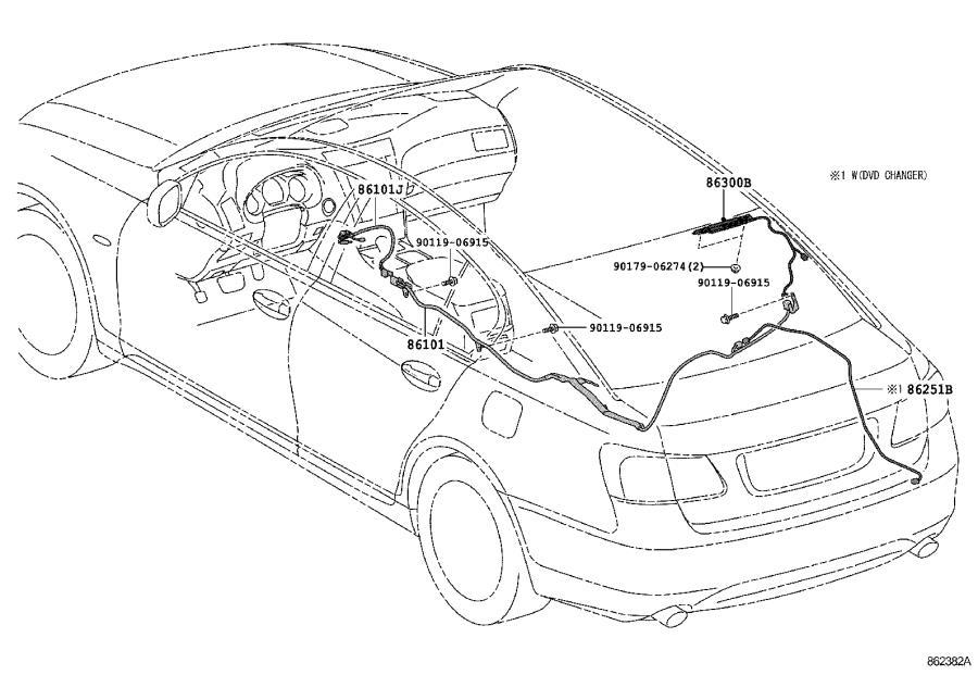Lexus GS 460 Wiring, amplifier. Mar, dvd, changer