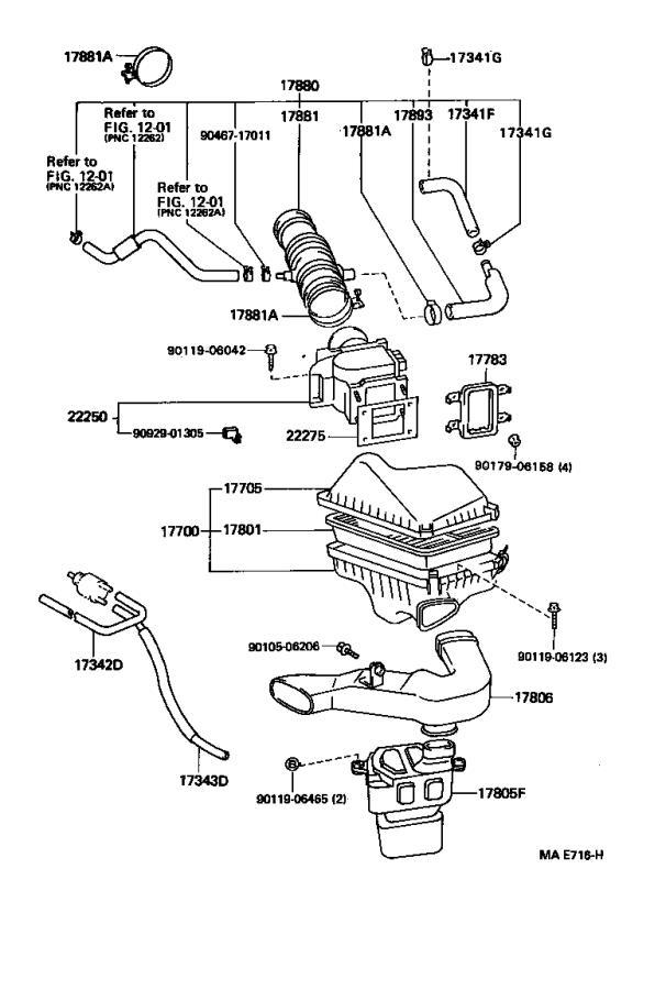 Lexus ES 300 Hose assembly, air cleaner. Engine