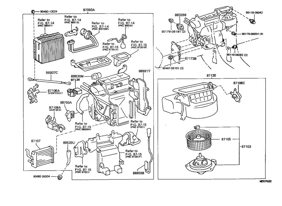 Lexus ES 300 Servo sub-assembly, damper. Air, conditioning
