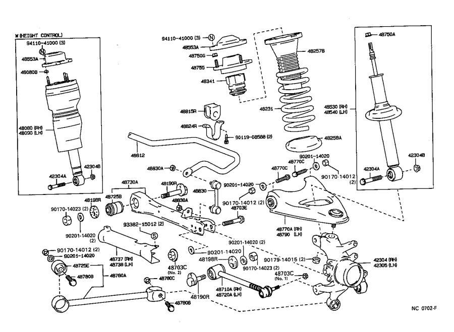 1998 Lexus LS 400 Suspension Strut Rod Bushing (Rear