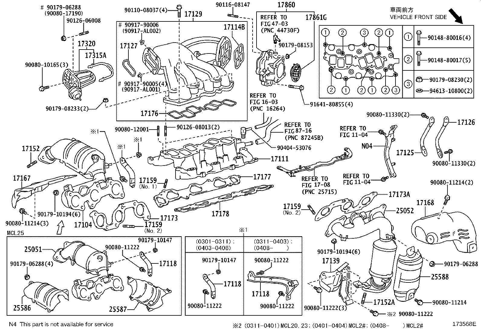 Toyota Sienna Connector assembly, intake air. Exhaust