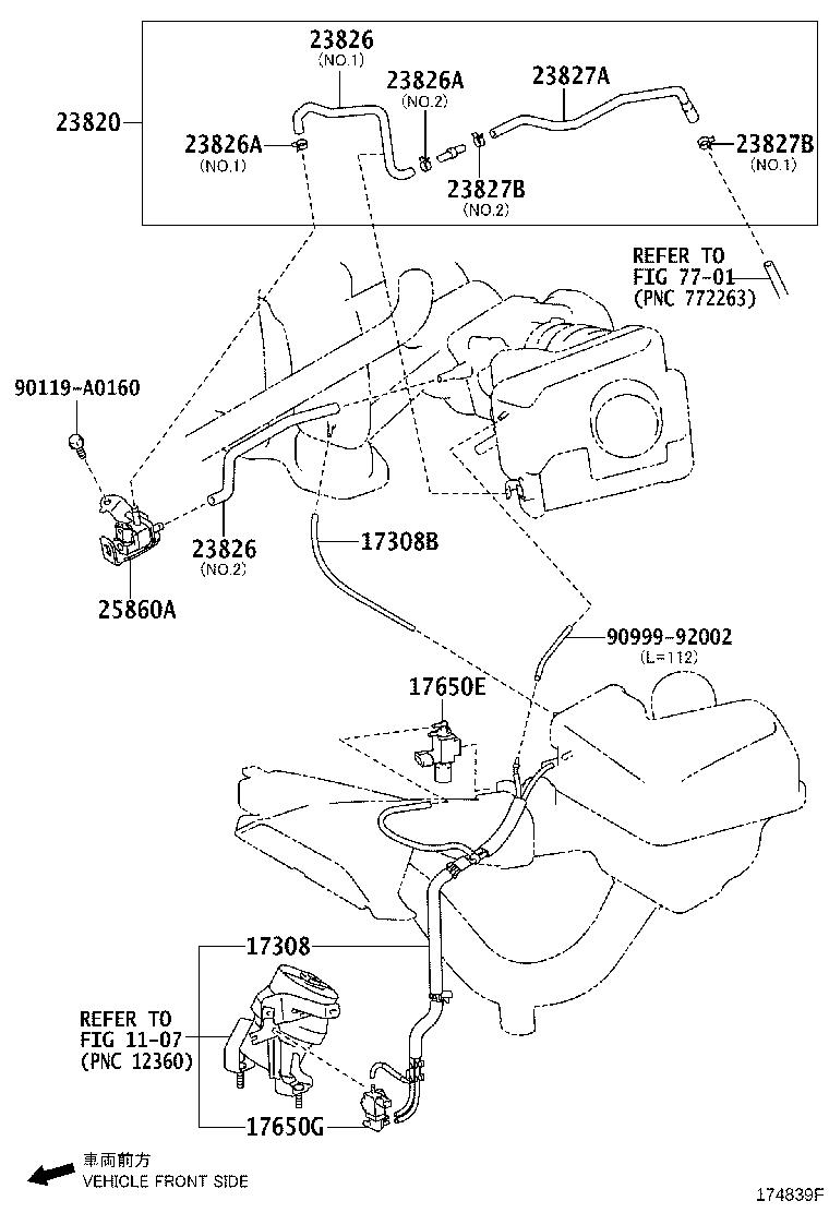 Toyota Camry Hose assembly, vacuum switching valve. Spec