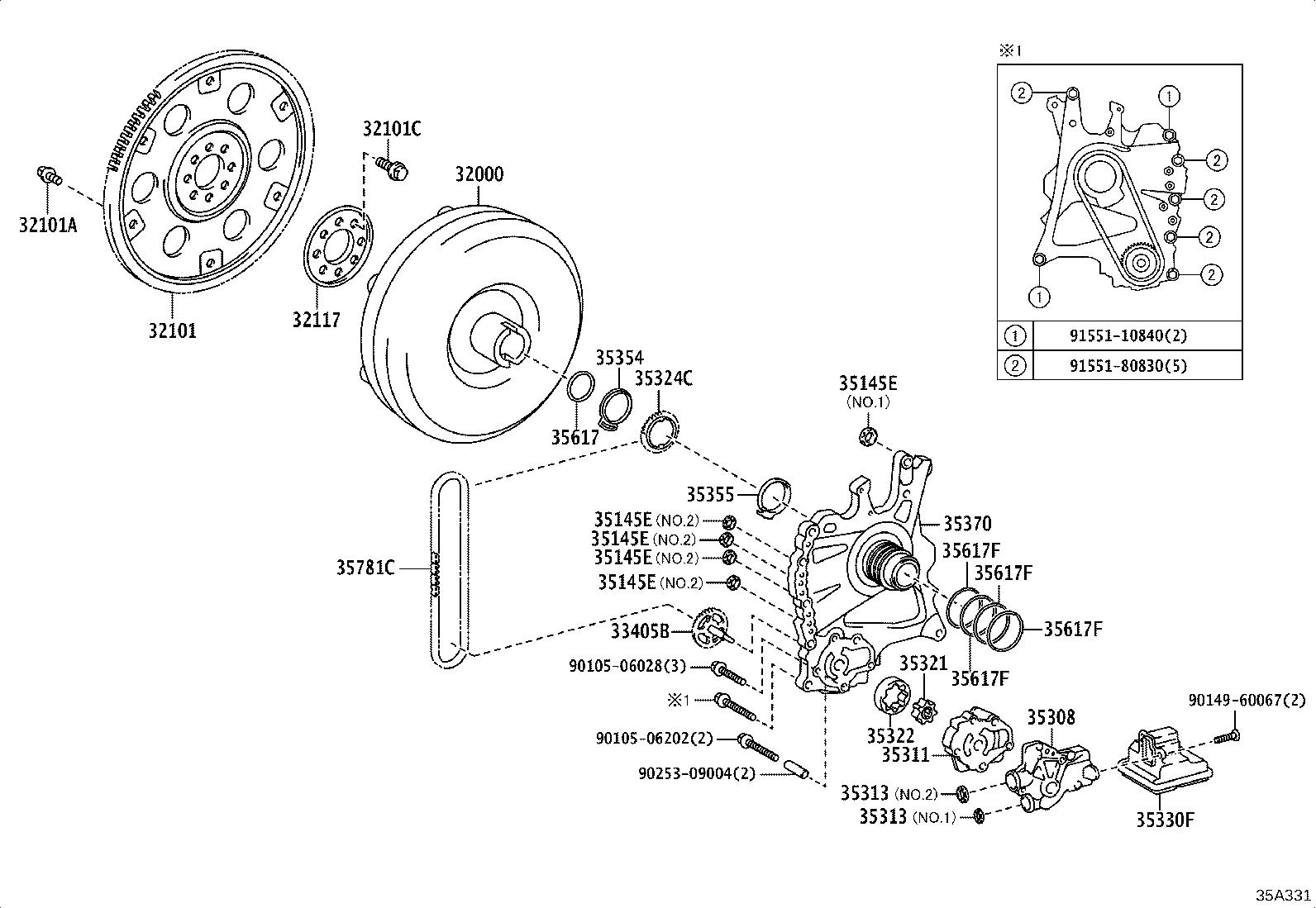 Toyota Camry Cover Sub Assembly Front Oil Pump