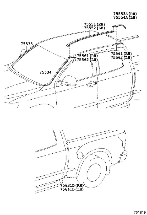 Toyota Tundra Moulding, side panel, lower no. 1 left. Cmax