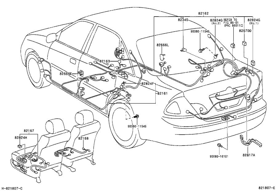 Toyota Avalon Protector, wiring harness, no. 1. Clamp