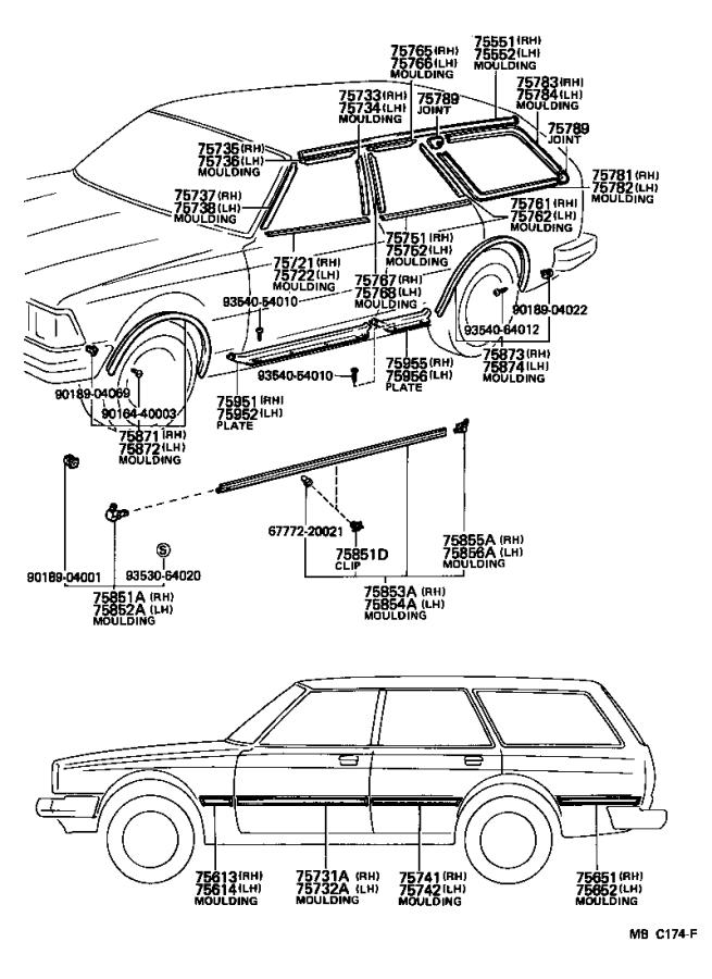 Toyota Cressida Moulding, quarter, outside right. Brown