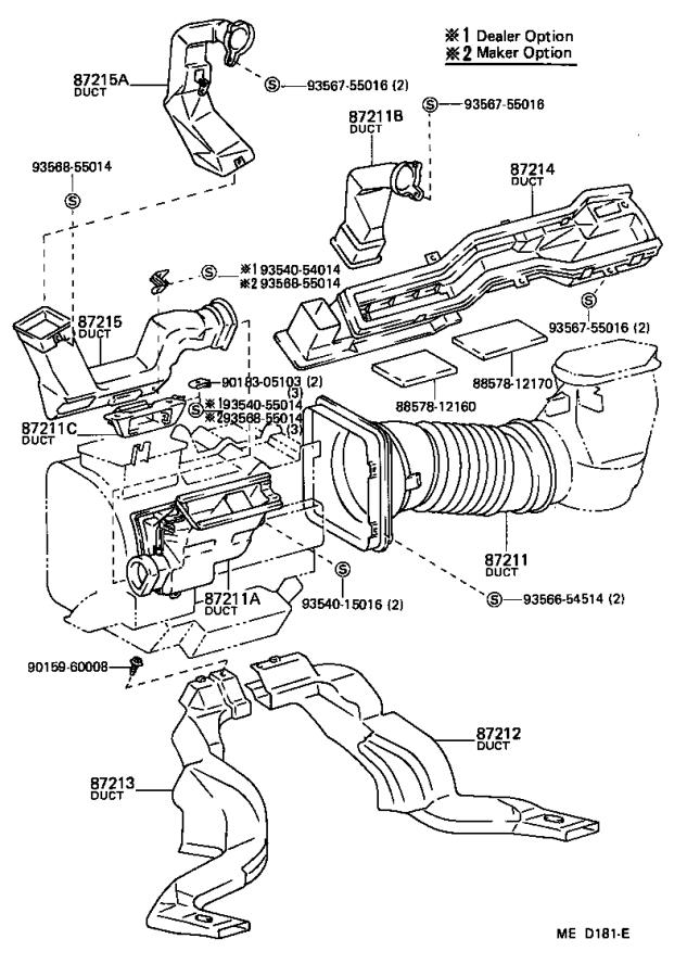 Toyota Corolla Cable sub-assembly, defroster damper