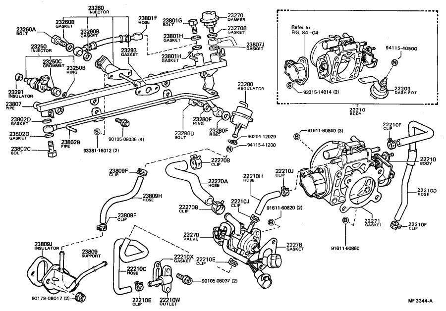 Toyota Celica Hose, fuel pump. System, injection