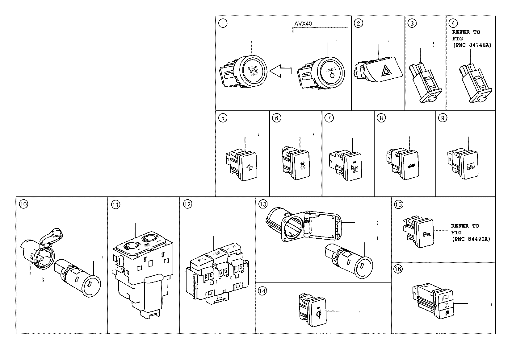 Toyota Avalon Switch assembly, pre-collision system cancel