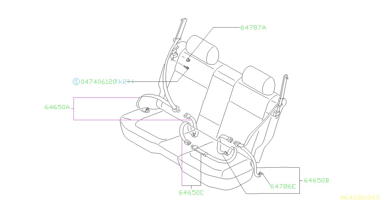 Subaru Forester Seat Belt Lap and Shoulder Belt (Right