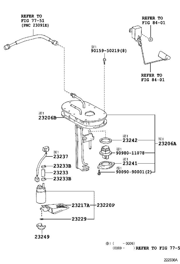 Toyota Tacoma Gasket, fuel pump connector. System