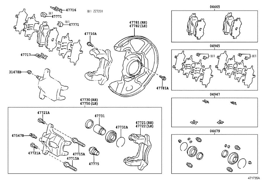 Toyota Celica Disc Brake Caliper Repair Kit (Front