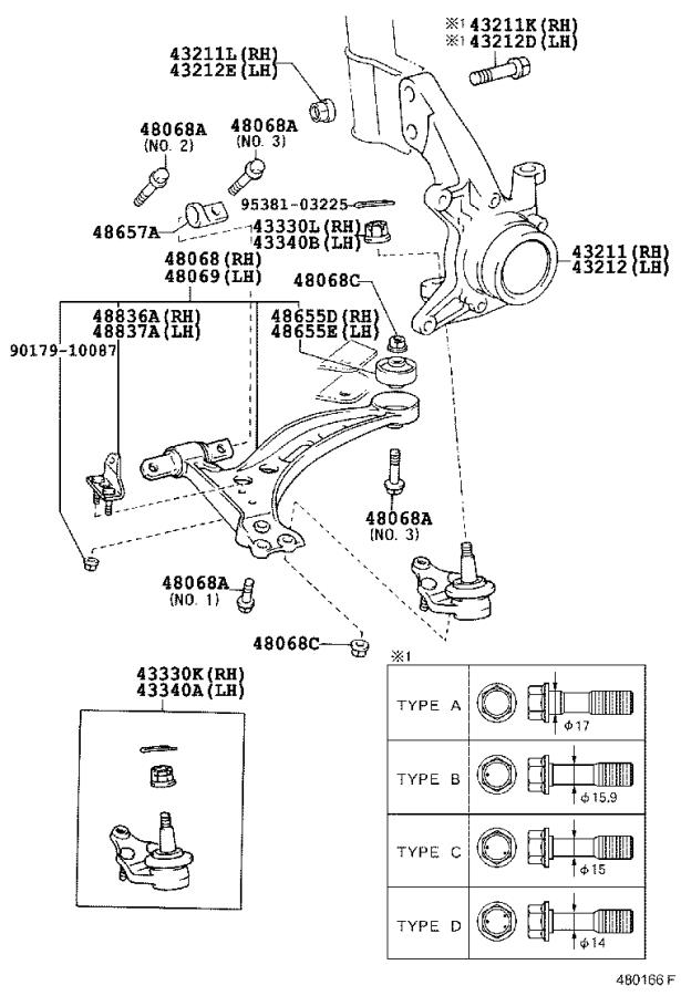Toyota Avalon Suspension Control Arm (Right, Front, Lower