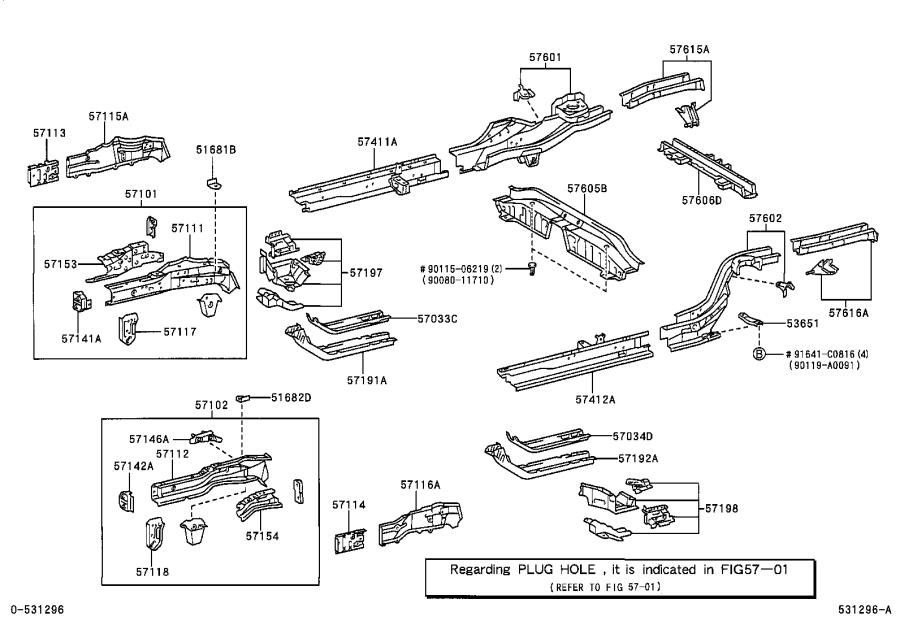 Toyota Corolla Extension, front side member, left