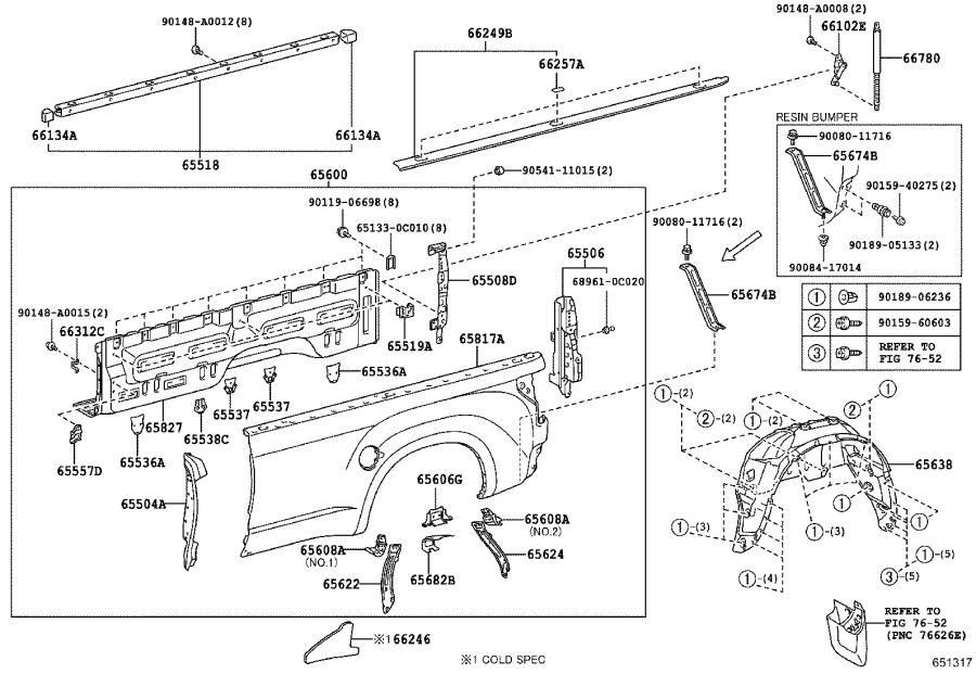 Toyota Tundra Truck Bed Panel Reinforcement (Right, Rear